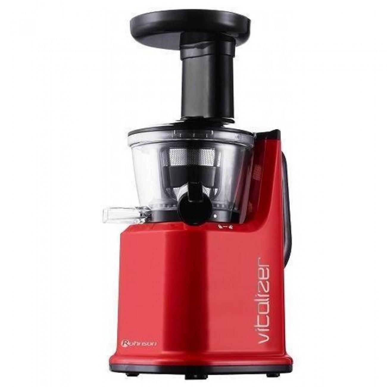 Сокоизстисквачка Rohnson R 451, 150W, бавно изцеждане, до 110 об. /мин, до 50% повече сок от центробежна сокоизстисквачка, червена в Сокоизстисквачки -  | Alleop