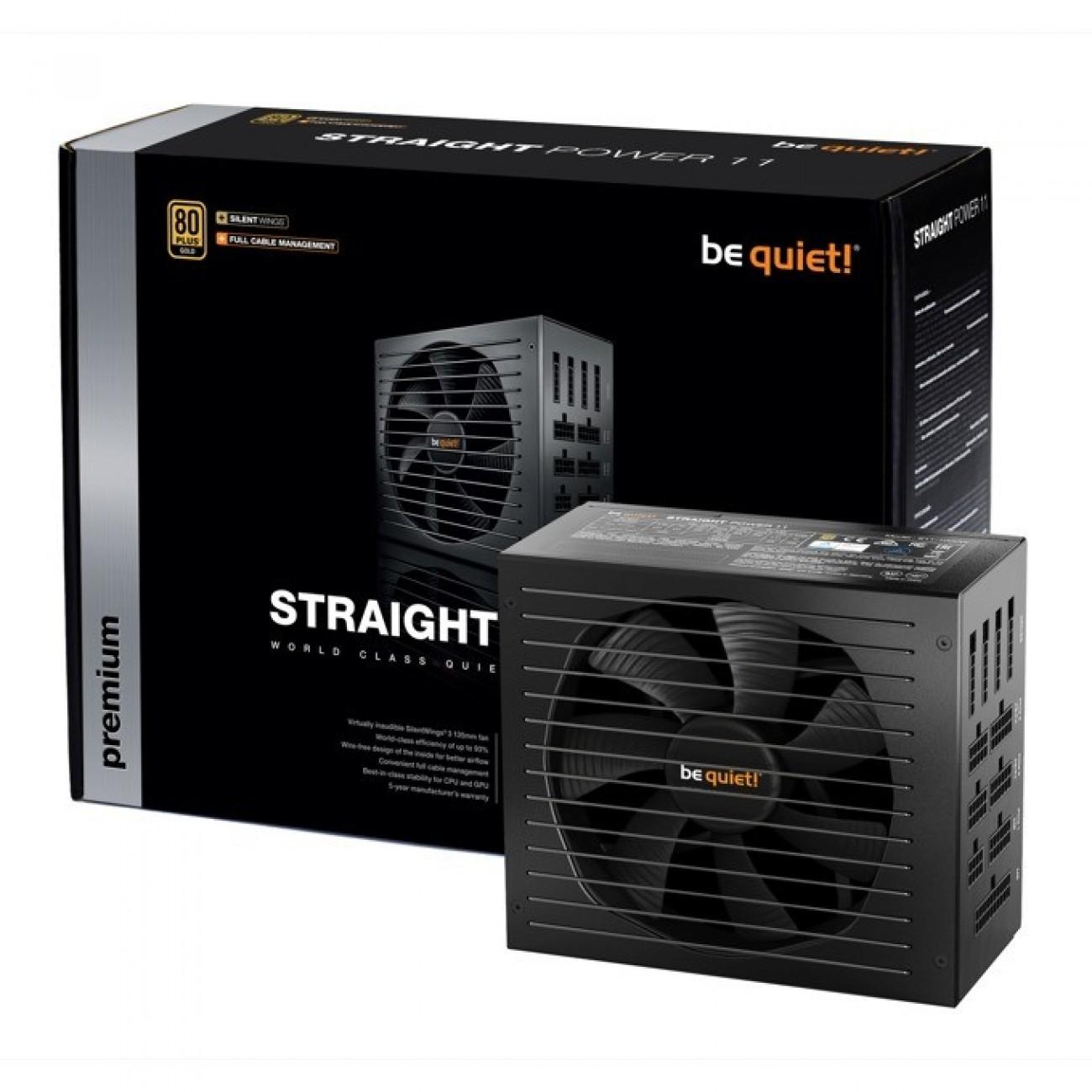 Захранване be quiet! STRAIGHT POWER 11 BN284, 850W, Active PFC, 80+ Gold, изцяло модулно, 135mm вентилатор в Захранвания Настолни компютри -    Alleop