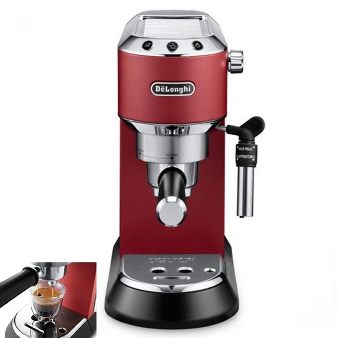 Кафемашина Delonghi EC 685.R, 1300W, 15 bar, Self-priming системата, Регулируема капучино система, Мобилен воден резервоар, червена в Кафемашини -  | Alleop