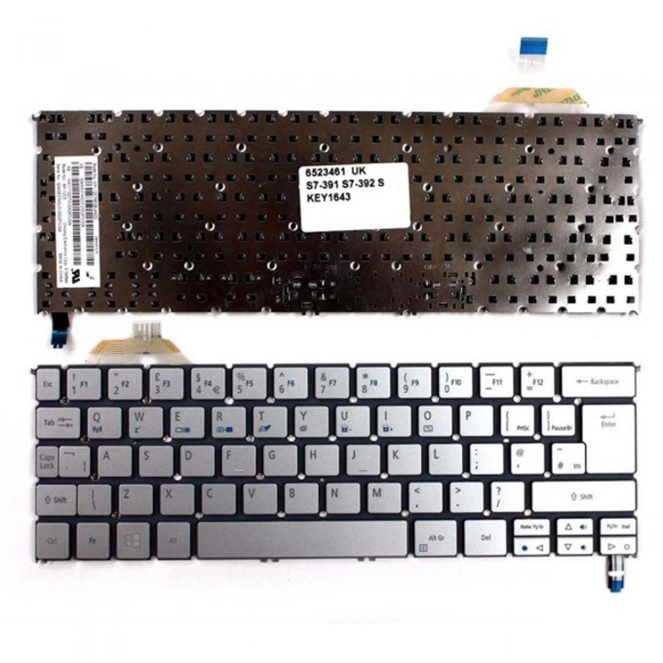 Клавиатура за лаптоп Acer, съвместима със серия Aspire S7-391 S7-392, без рамка, сива, US/UK, с подсветка в Резервни части -    Alleop