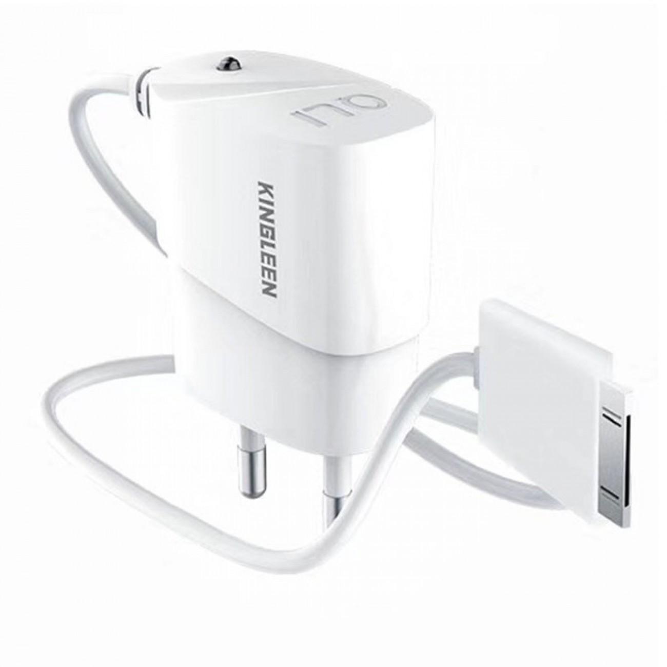 Зарядно устройство Kingleen C816 за iPhone 4 , от контакт към 30-Pin Lightning (м), 5V, 1.0A, бяло в Зарядни устройства за батерии - Kingleen | Alleop