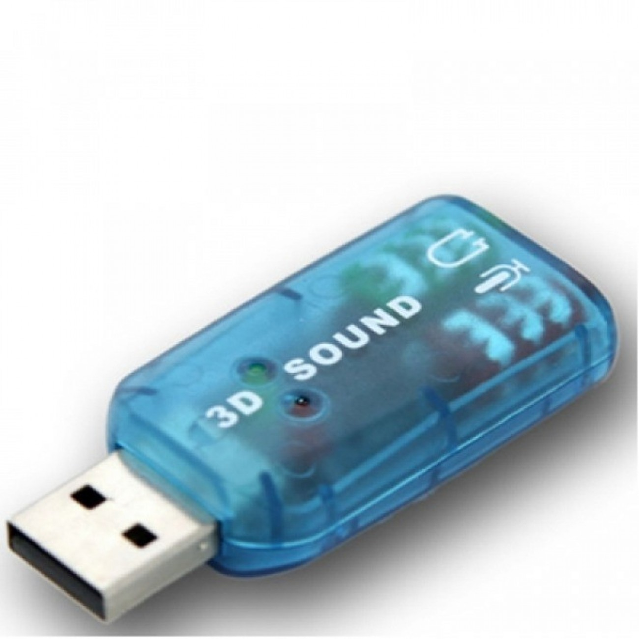 Външна звукова карта, USB, 3.5mm жак, MIC жак, синя в Звукови карти - Noname | Alleop