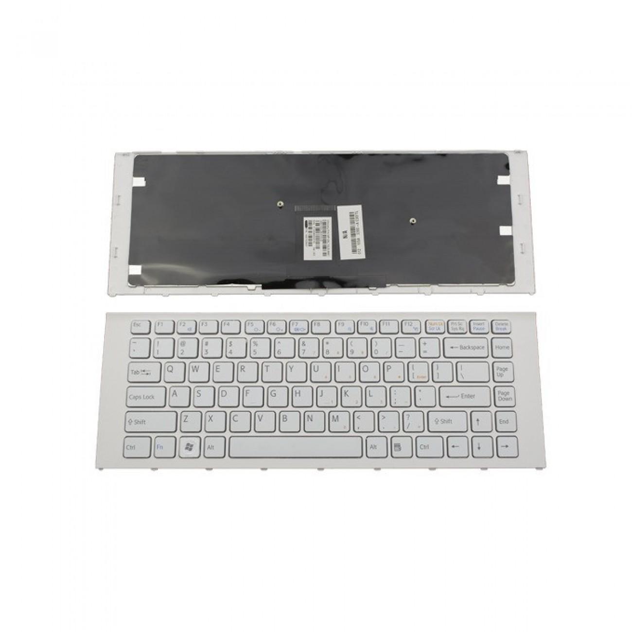 Клавиатура за лаптоп Sony, съвместима със серия VAIO VPC-EA/VPC EA, UK, с бяла рамка, с бели бутони в Резервни части - OEM | Alleop