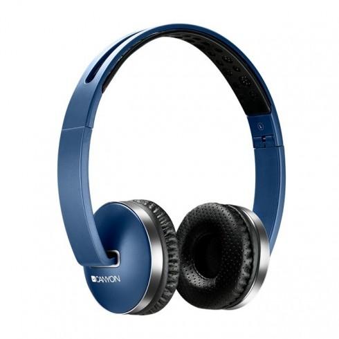 Слушалки Canyon CNS-CBTHS2BL, безжични(Bluetooth 4.2), микрофон, до 6 часа време за работа, бързи бутони, сгъваеми, сини в Слушалки - Canyon | Alleop