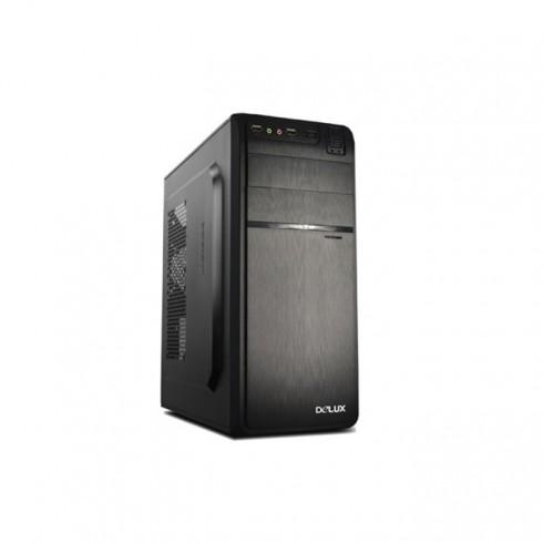 Кутия Delux DW600, ATX/mATX, 2x USB3.0, черна, 450W захранване в Компютърни кутии - Delux | Alleop