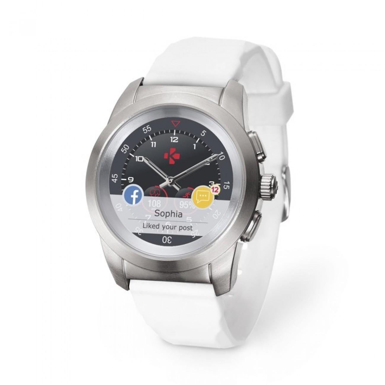 Хибриден смарт часовник MyKronoz ZeTime Petite, механични стрелки, 1.22 (3.09 cm) TFT сензорен дисплей, Bluetooth 4.2, до 3 дни време за работа в режим Smart, водоустойчив, сребрист-бял в Смарт часовници - MyKronoz | Alleop