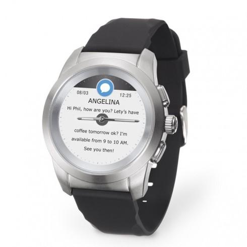 Хибриден смарт часовник MyKronoz ZeTime Petite, механични стрелки, 1.22 (3.09 cm) TFT сензорен дисплей, Bluetooth 4.2, до 3 дни време за работа в режим Smart, водоустойчив, сребрист-черен в Смарт часовници - MyKronoz   Alleop