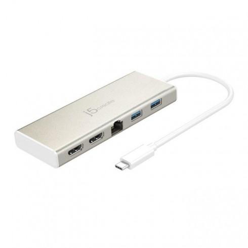 Докинг станция j5create JCD381 Mini Dock, 2x USB 3.0, LAN1000, 1x USB 3.0 Type C, 2x HDMI в Докинг станции - j5create | Alleop
