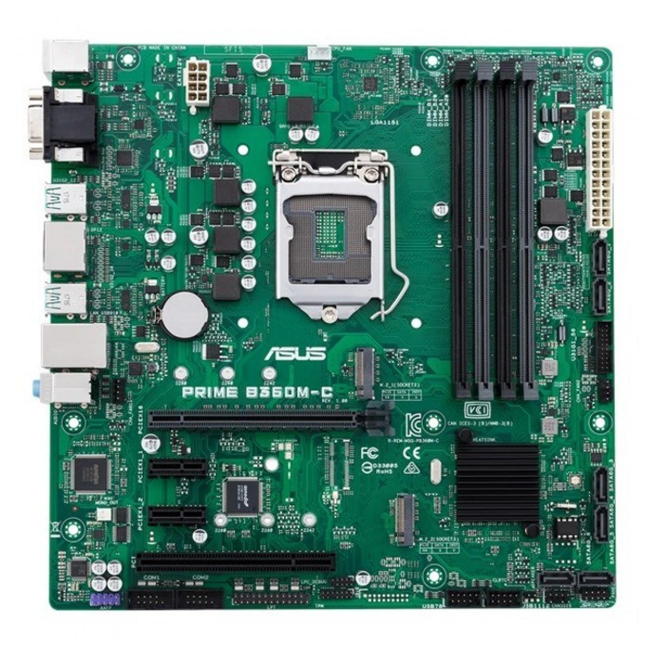 Дънна платка Asus PRIME B360M-C, B360, DDR4, PCI-E(DP&HDMI), 6x SATA 6Gb/s, 2x M.2 Socket 3, 4x USB 3.1 (Gen 2), uATX в Дънни платки за Intel процесори - Asus | Alleop