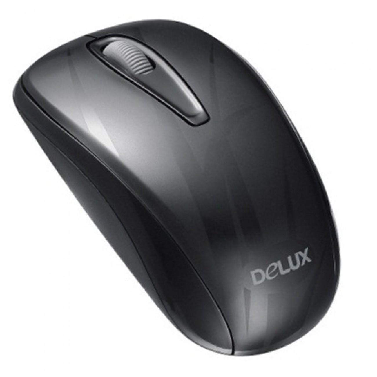 Mишка DELUX M107GX+G07UF, оптична 1000 dpi., безжична, USB (NANO receiver), черна в Мишки - Delux | Alleop