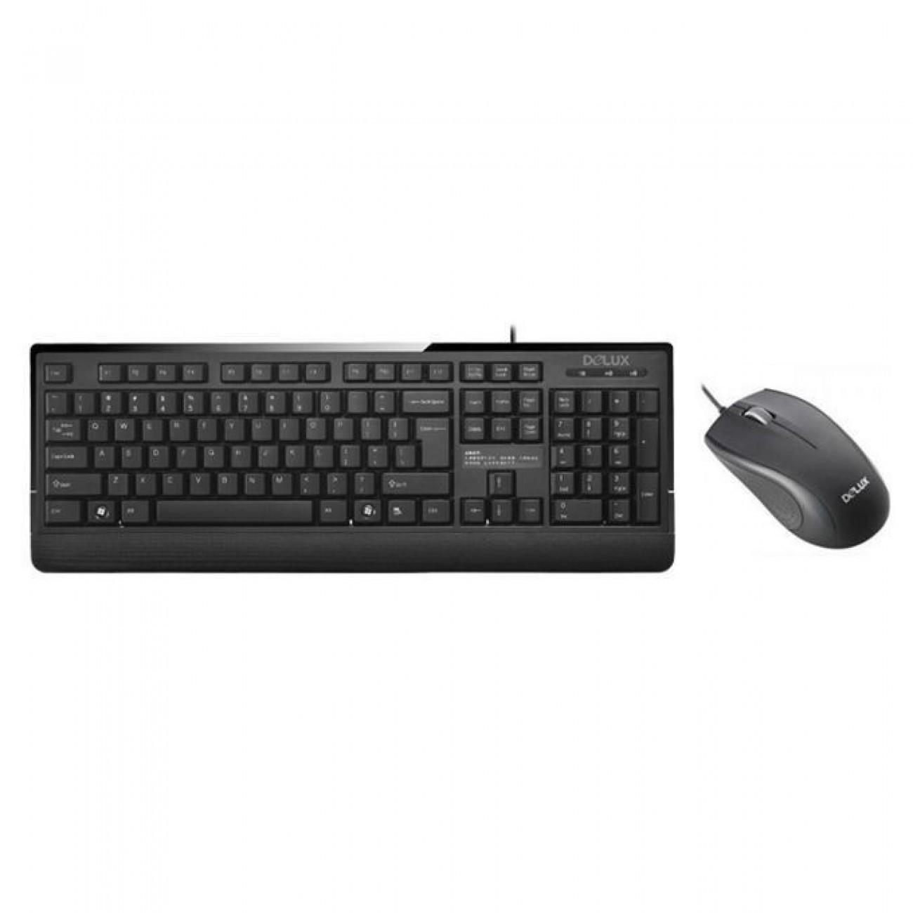 Комплект клавиатура и мишка Delux DLK-6300U/DLM-138, оптична (1000 dpi), USB, черни в Комплекти мишки и клавиатури - Delux | Alleop