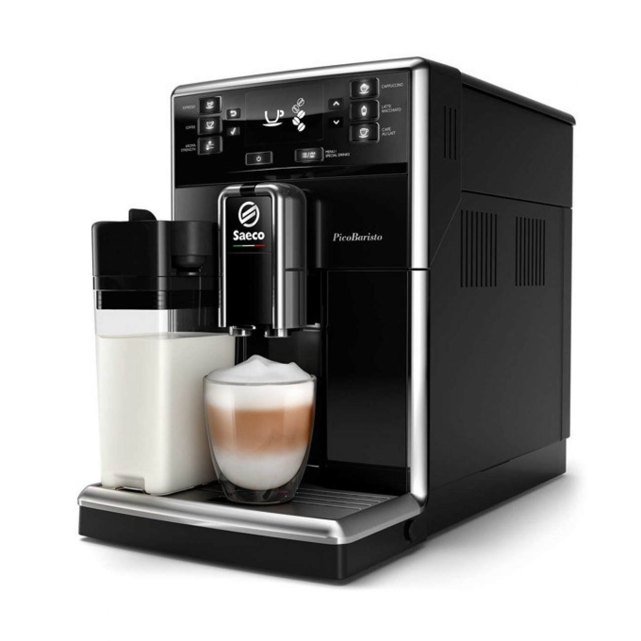 Aвтоматична еспресо кафемашина Philips Saeco PicoBaristo, 10 напитки, вградена първокласна кана за мляко, предна част с цвят Piano Black, 10-степенна регулируема мелачка в Кафемашини -  | Alleop