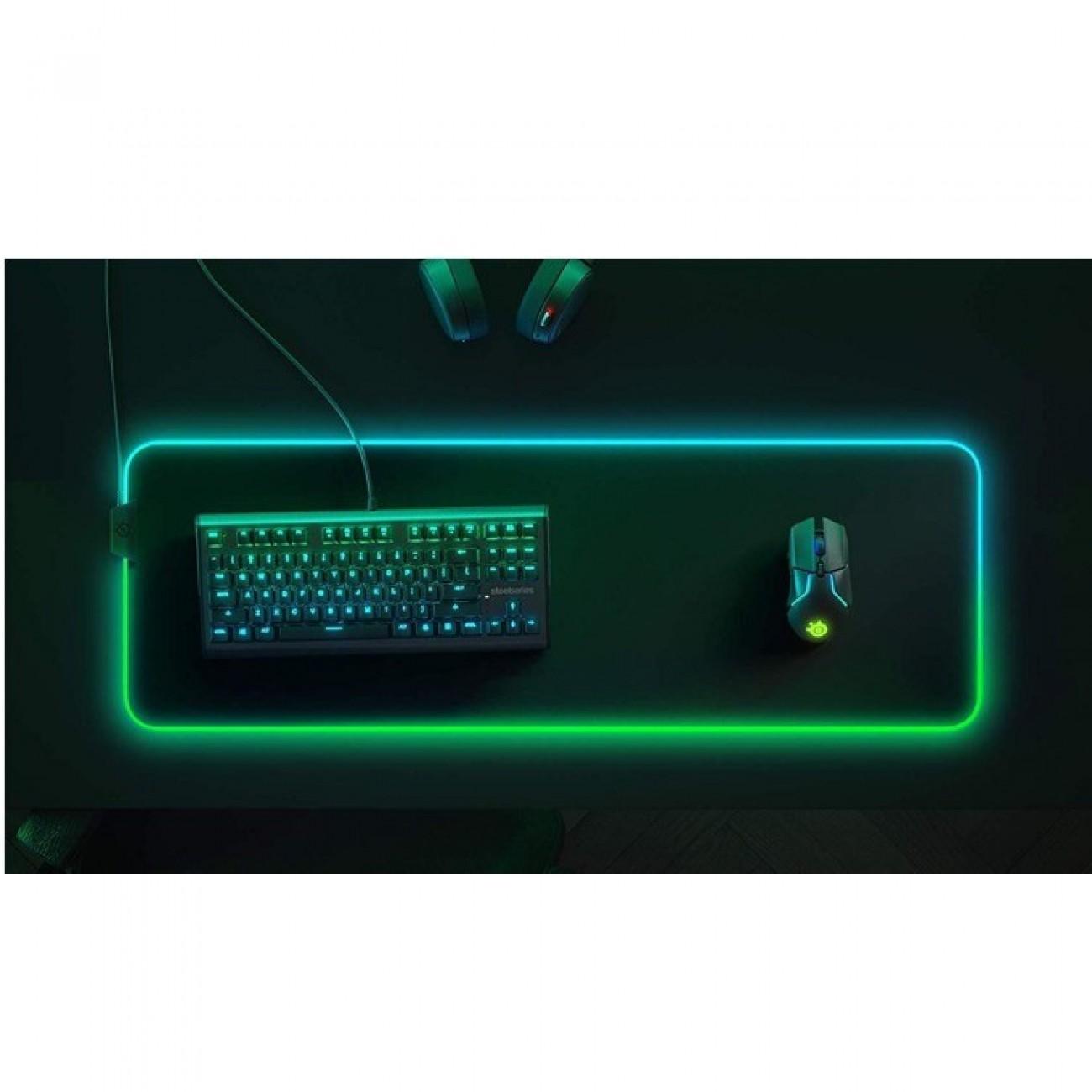 Подложка за мишка SteelSeries QcK Prism Cloth XL, със RGB подсветка, 900 mm x 300 mm x 4 mm, черна в Подложки за мишки - SteelSeries   Alleop
