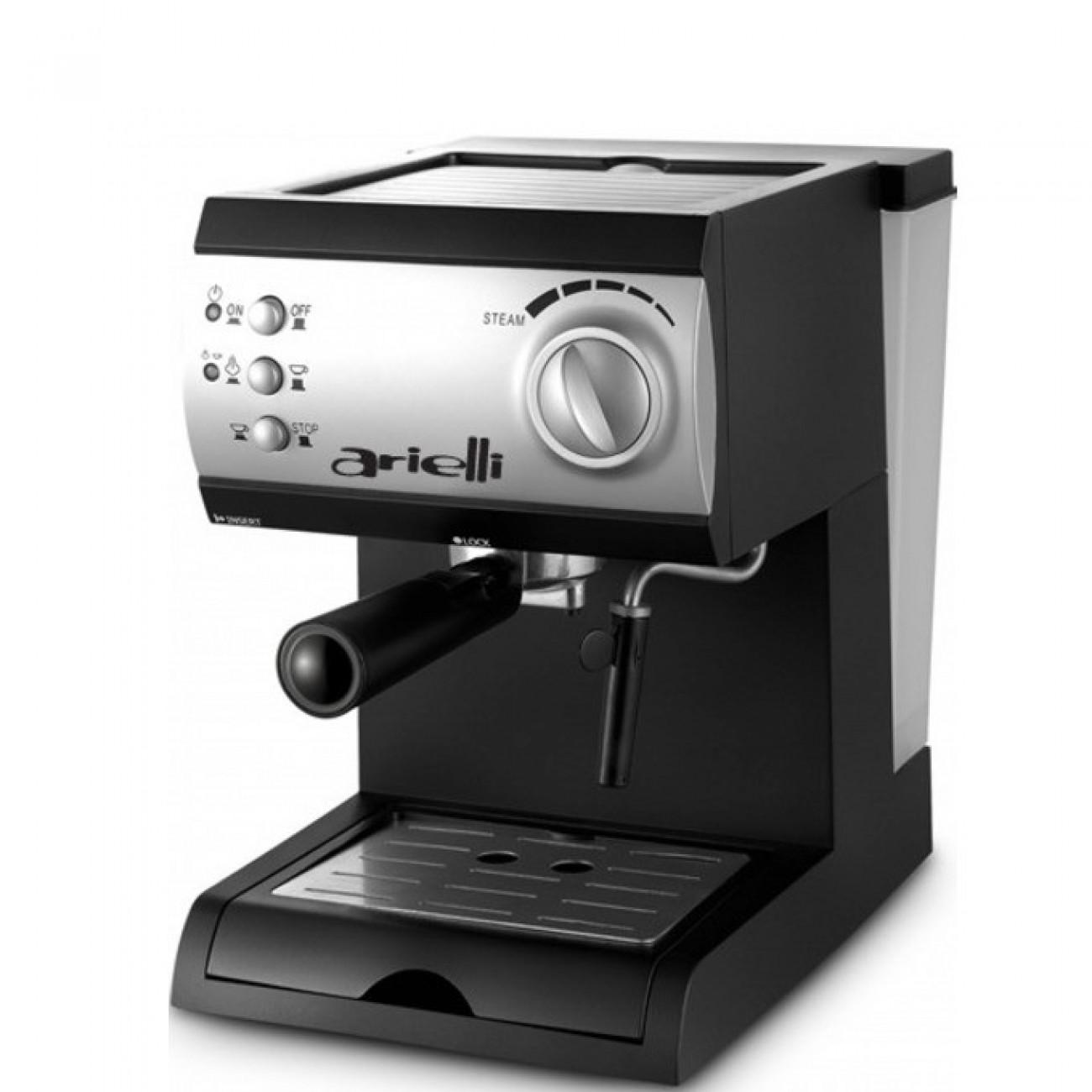 Ръчна еспресо машина Arielli KM-150BS, 1050W, 1.5 л. воден резервоар, 15 бара налягане, черна в Еспресо машини - Arielli | Alleop