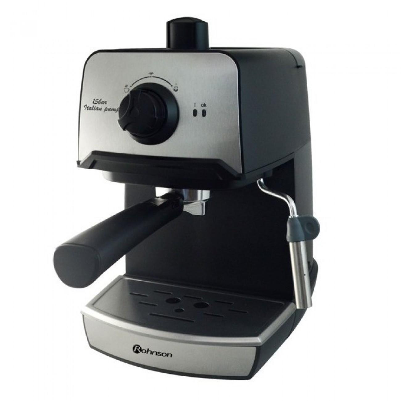 Ръчна еспресо кафемашина Rohnson R 977, 850W, 15 bar, италианска помпа, дюза за капучино, двоен филтър от неръждаема стомана в Кафемашини -  | Alleop