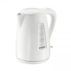 Електрическа кана Singer SWK-800 DOTS WH, вместимост 1.7 литра, 2200W, въртяща се основа на 360, светлинен индикатор, бяла