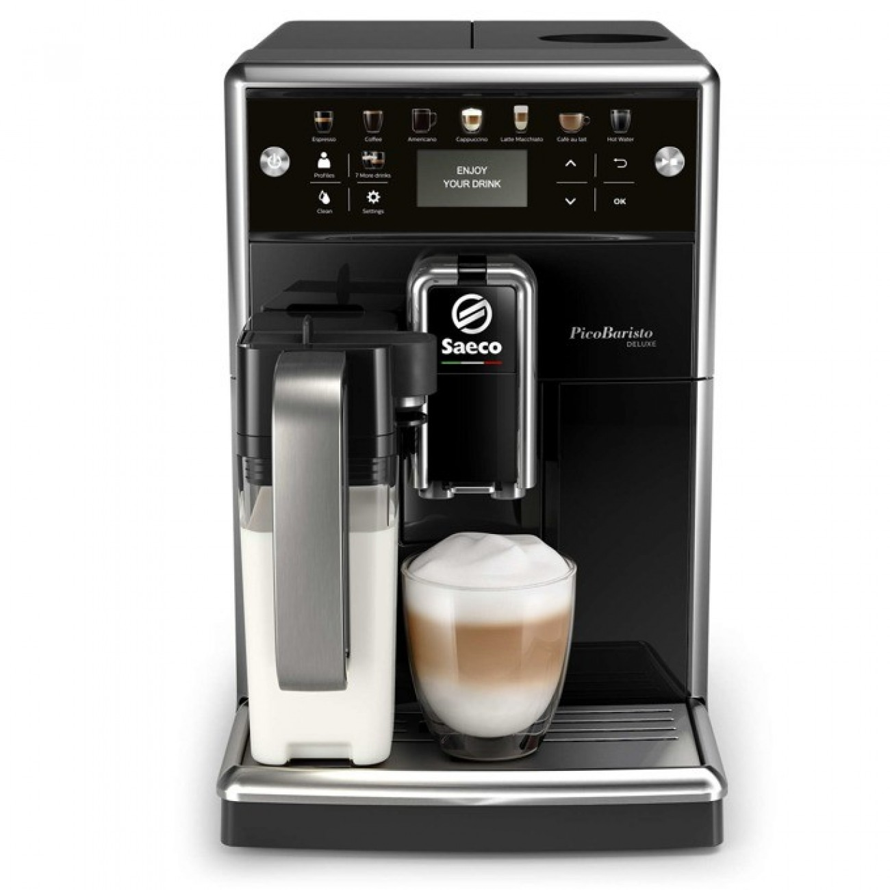 Автоматична еспресо машина Philips Saeco PicoBaristo SM5570/10, 13 напитки, 1,7л резервоар, вградена първокласна кана за мляко, 12-степенна регулируема мелачка, черна в Кафемашини -    Alleop