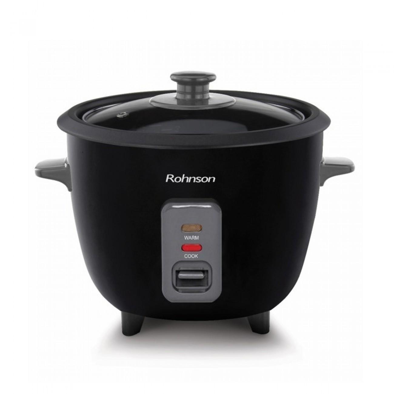 Уред за варене на ориз Rohnson RC-12 Black, 0.6 л. вместимост, защита от прегряване, незалепваща повърхност, 300W в Multicooker & Уреди за готвене - Rohnson | Alleop