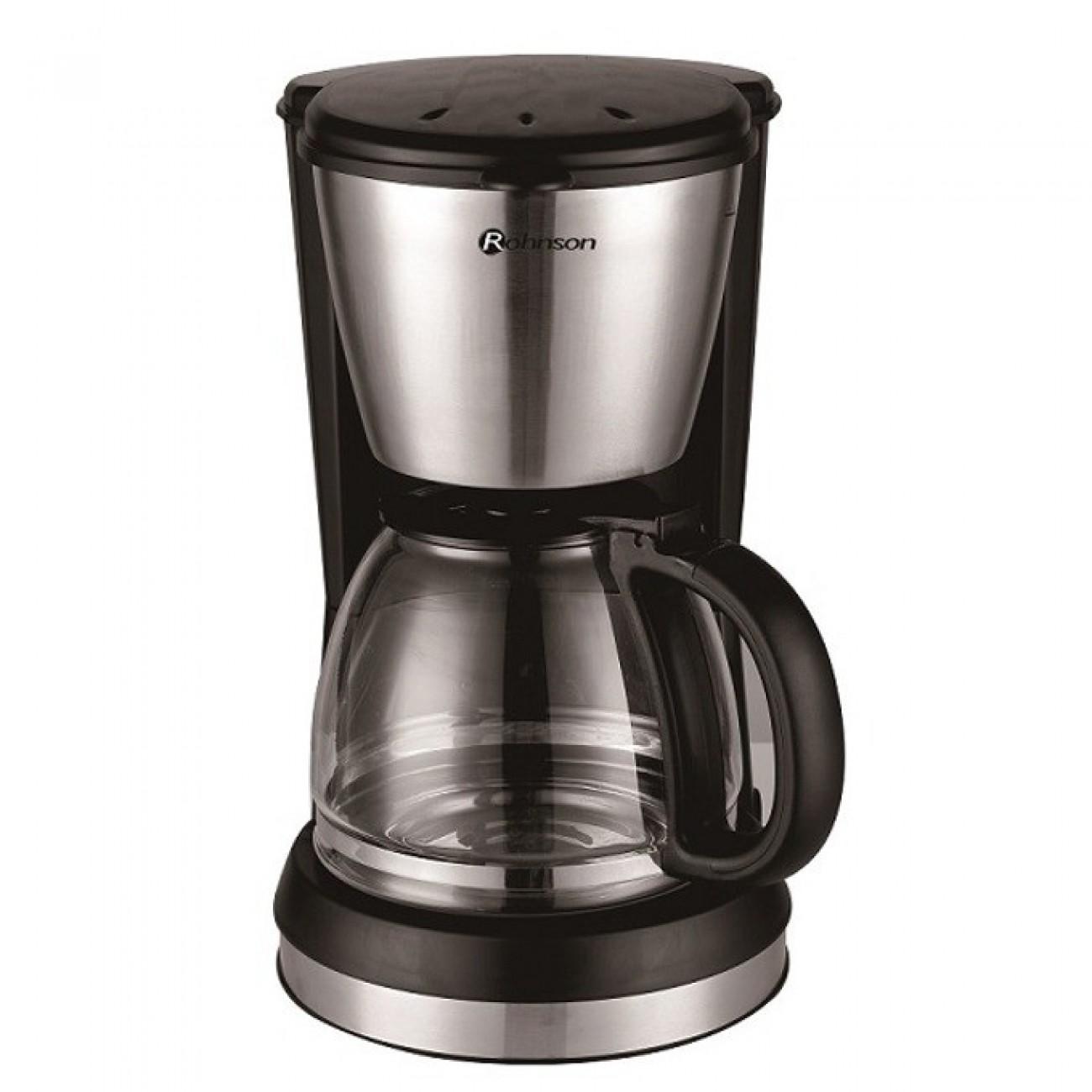 Ръчна шварц кафемашина Ronhson R 920, 900W, 1,5 л. кана, сменяем постоянен филтър, поддържане на постоянна температура, черна/инокс в Кафемашини -    Alleop