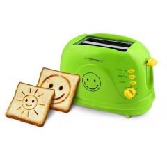 Тостер Esperanza EKT003 Smiley, 750W, 2 печата с усмивка, 7 степени, Зелен