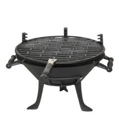 Чугунено барбекю TEMAX BQ 024, Площ за готвене: 30 см, На въглища, Черен