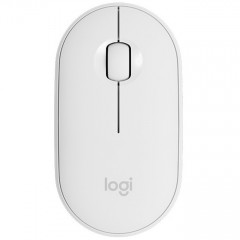 Мишка Logitech Pebble M350 Wireless Mouse 910-005716, оптична (1000 dpi), безжична, USB, бяла, тънка/умалена